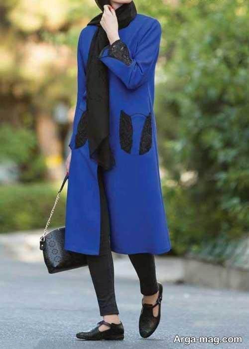 مدل مانتوی آبی زنانه