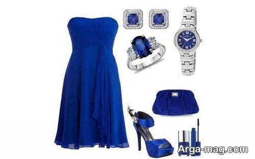 ست لباس مجلسی آبی