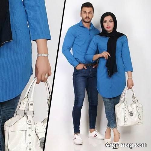 ست لباس آبی زنانه و مردانه