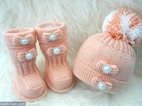 set kolah papoosh 12 - ست کلاه و پاپوش بافتنی نوزاد دختر