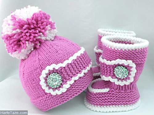 set kolah papoosh 16 - ست کلاه و پاپوش بافتنی نوزاد دختر