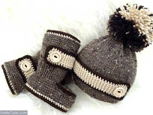 set kolah papoosh 2 - ست کلاه و پاپوش بافتنی نوزاد دختر