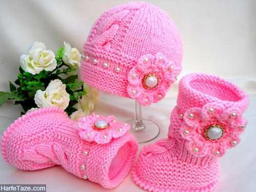 set kolah papoosh 5 - ست کلاه و پاپوش بافتنی نوزاد دختر