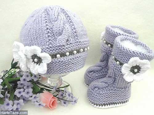 set kolah papoosh 6 - ست کلاه و پاپوش بافتنی نوزاد دختر