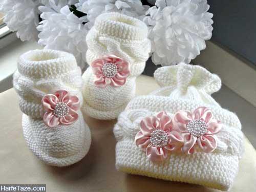set kolah papoosh 7 - ست کلاه و پاپوش بافتنی نوزاد دختر