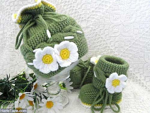 set kolah papoosh 8 - ست کلاه و پاپوش بافتنی نوزاد دختر