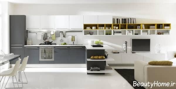 چیدمان وسایل در درون آشپزخانه بدون اپن