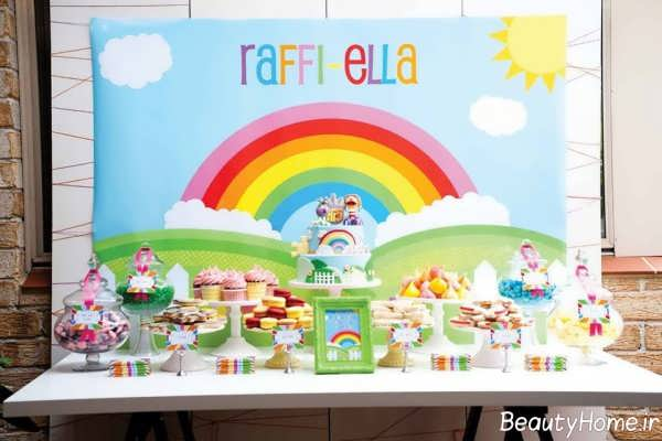تزیین اتاق تولد با تم رنگین کمان