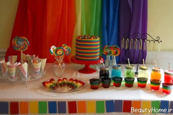 تزیین زیبا و خاص تولد با تم رنگین کمان