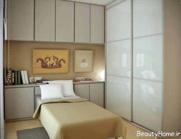 طراحی دکوراسیون اتاق خواب کوچک با رنگ روشن