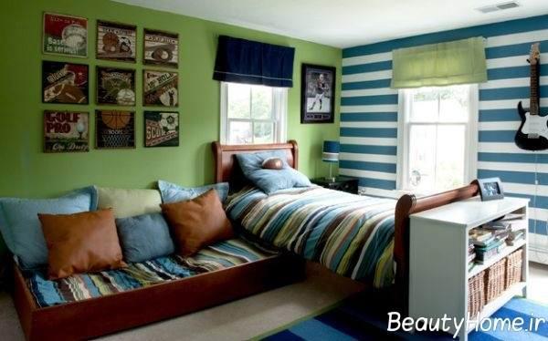 طراحی اتاق خواب کودکانه با رنگ سبز